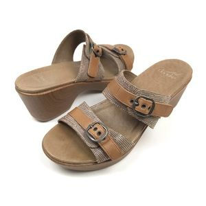 Dansko Jessie Sand Lizard leather clog sandals 39